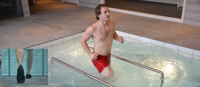 Active hydrotherapy, individual on underwater treadmill in pool